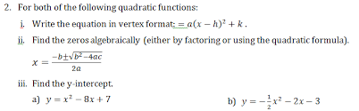 quadratic equations mr brown u0027s website
