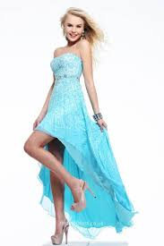 Light Blue Sequin Dress Sequins And Beads Strapless High Low Sky Blue Prom Dress