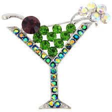 martini glass green martini glass crystal pin brooch fantasyard costume