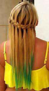 braid band waterfall braid with braid band green dip dye
