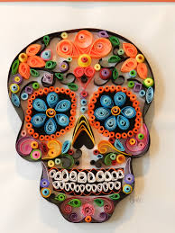 sugar skull paper quill day of the dead art by savicart on etsy