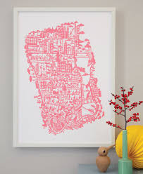 New York City Map New York City Hand Screen Printed City Map Famille Summerbelle