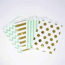 gold favor bags mint gold and white polka dot stripe chevron paper treat favor