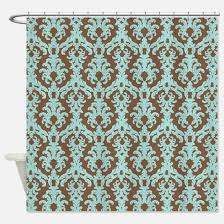 damask blue and brown shower curtains cafepress