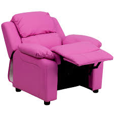 deluxe padded contemporary pink vinyl kids recliner with