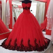 gothic black and red ball gown wedding dress strapless tull