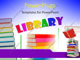 templates powerpoint crystalgraphics powerpoint template a number of books with the word library 7671