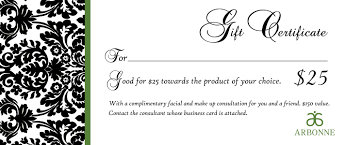 Free Printable Gift Certificate Template Word Jennifer Scott Harbour Arbonne Executive National Vice President