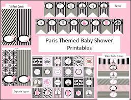 paris themed babyshower party printables