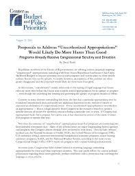 proposals to address u201cunauthorized appropriations u201d would likely do