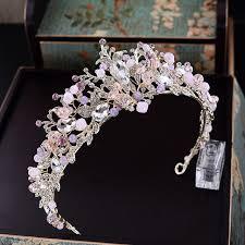 wedding crowns baroque pink rhinestone pearl bridal crowns handmade tiara headband