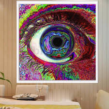 posters psychedelic trippy colorful eye art silk cloth poster 24 x