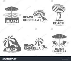 Clip On Umbrellas For Beach Chairs Logo Templates Beach Umbrella Sun Bathing Stock Vector 544862719