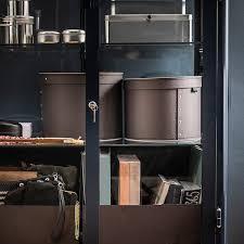 ikea kitchen cupboard storage boxes anilinare storage box with lid set of 2 brown ikea