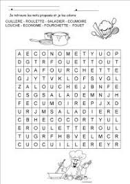 jeu de mots cuisine fichier pdf téléchargeable en noir et blanc seulement 1 page ce mot