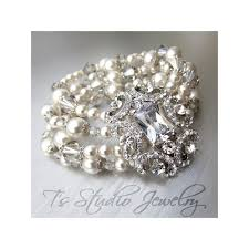 crystal bridal bracelet images Pearl and crystal rhinestone cuff bridal bracelet brooch focal jpg