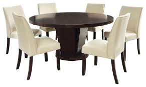 cimma espresso finish round 7 piece dining table set with lazy