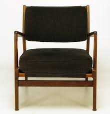 Chenille Armchair Jens Risom Teak Wood Arm Chair In Black Striped Chenille For Sale
