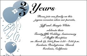 outstanding invitation card for silver jubilee wedding anniversary