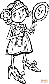 young putting makeup on coloring page free printable