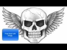 how to draw a skull with wings part 2 of 2