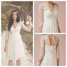 2017 white lace wedding dresses 3 4 long sleeves scalloped v neck