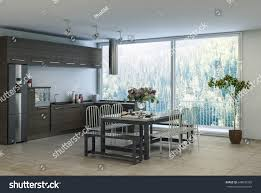 modern trendy dining kitchen area apartment stock illustration