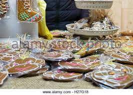 homemade various christmas gingerbread cookies on wooden