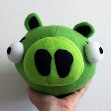 obsessively stitching angry birds plush pig and blue bird