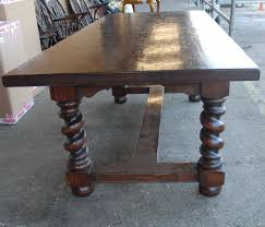 english rustic refectory table with barley twist legs refectory