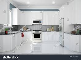 interior new white kitchen kitchenware clean stock illustration