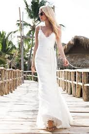 spaghetti straps lace trumpet natural waist sash beach wedding