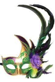 mardi gras mens mask venetian feather styled purple green and gold masquerade mask
