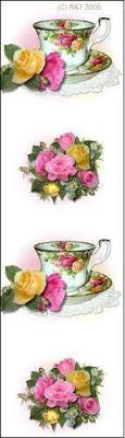 country roses tea set 10 bookmarks country roses tea cups favors roses and teacups