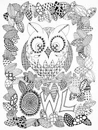 halloween zentangle owl halloween coloring pages for adults