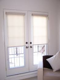 French Doors With Blinds In Glass Roller Shades Displaying The Regular Roll Type Shown In Material