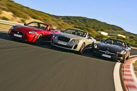bentley news road u0026 track jaguar bentley mercedes three cabriolets on the race track