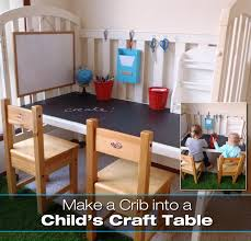 Craft Table Desk Old Crib Made Into Children U0027s Table Desk Diy For Life