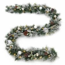 9 ft battery operated snowy silver pine artificial garland with