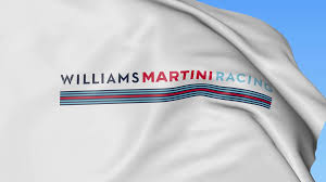 blue martini uniform waving flag with williams martini racing logo seamles loop 4k