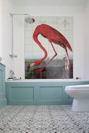 Red White And Blue Bathroom Decor Un Baño Muy Flamenco Oval Room Blue Flamingo And Walls