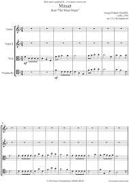 water music suite no 1 minuet string quartet sheet music by
