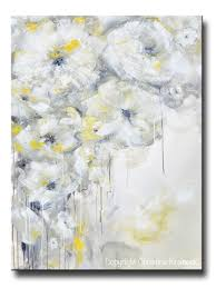Home Decor Canvas Art Fine Art Yellow Grey Abstract Painting White Flowers Canvas Art