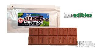 incredibles edibles mile higher mint chocolate bar by incredibles 500mg thc magazine