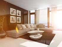 modern living room interior with bright sun flare stock