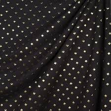 Black And White Drapery Fabric Gold Studded Fabric Modern Drapery Fabric By Loom Decor