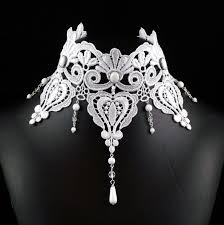 white lace necklace images White victorian choker necklace lace bridal jewelry large jpg