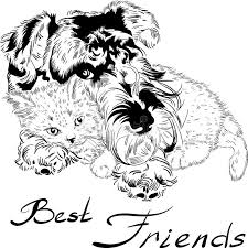 vector sketch cute dog with cat hand drawing vector stock vector
