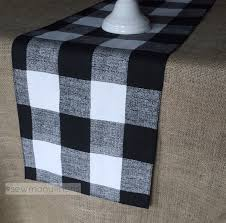 black plaid buffalo check table runner table centerpiece