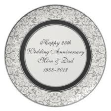 25th anniversary plates custom wedding anniversary plates